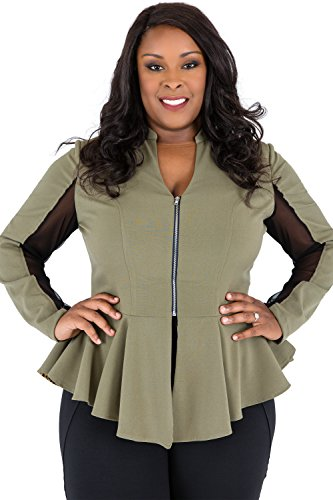 Poetic Justice Plus Size Women's Curvy Fit Olive Green Peplum Jacket, Sheer Panel Sleeves Size 3X by Poetic Justice