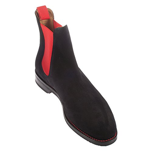 John Spencer Men's Richmond Suede Chelsea Boot (6934-2) Black/Red AjuzR6qt8c