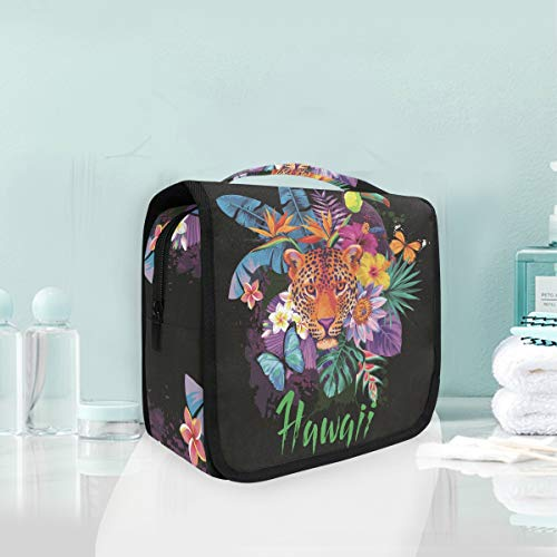 Makeup Cosmetic Bag Tropical Tiger Animals Floral Flowers Portable Storage Travel Toiletry Bag -