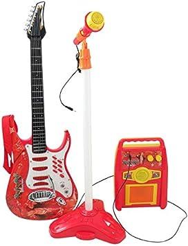 Rock Guitarra con Cuerdas de Acero, Amplificadores, Soporte Ajustable y Micrófono - Guitarra Rock para Niños - Guitarra Infantil - Rock Guitarra - Guitarra para Juguetes Instrumento Musical Infantil: Amazon.es: Juguetes y juegos