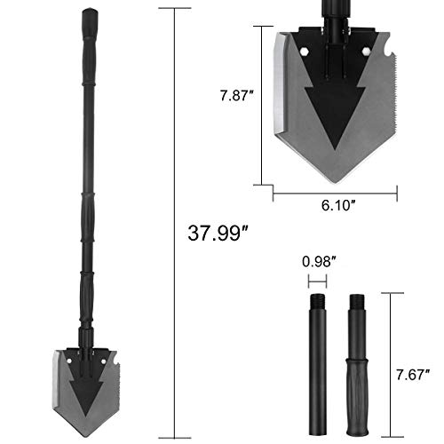 Portable Folding Shovel Pickax with Tactical Waist Pack All-in-1 Surplus Military Multitool Tactical Spade for Outdoor Camping Hiking Backpacking Entrenching Garden Tool Car Emergency 38 inch Length by Yeacool (Image #2)