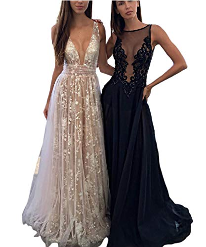 Lace Evening Backless B navy V Sexy Dreagel Gowns Neck Blue Dresses Formal Wedding Prom WqxY4fTfw