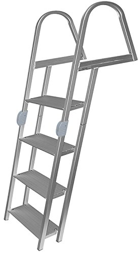 4 Step Folding Ladder, Anodized Alum, Mounting Hardware Included - Jif Marine