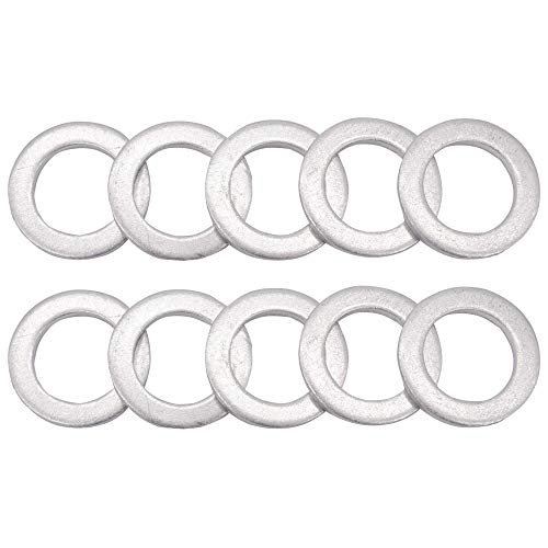 M14 Oil Drain Plug Gaskets Crush Washers Seals Rings for Honda Yamaha Triumph Kawasaki Suzuki, Used for Oil Change, 10 Pack ()