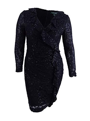 Ralph Lauren Womens Lace Embellished Party Dress Black 16