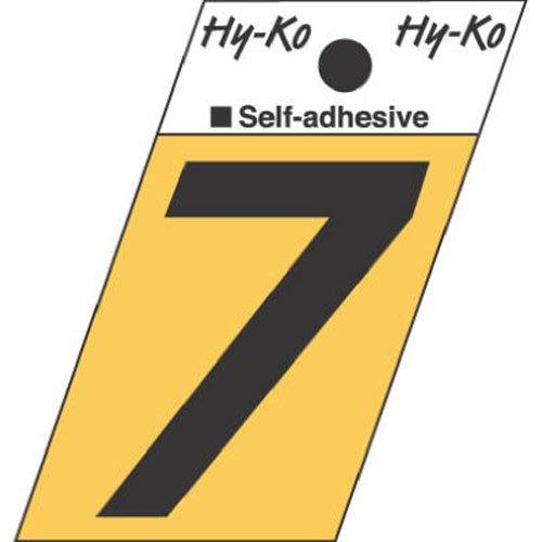 Hy-Ko GR-10/7 Angle Cut Number 7 Sign, 1.5'', Black Aluminum