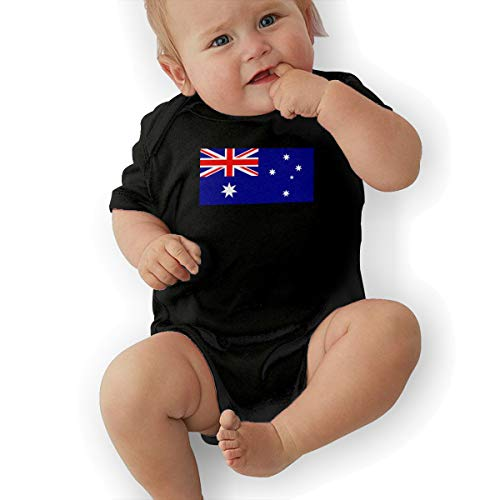 U88oi-8 Short Sleeve Cotton Rompers for Baby Boys and Girls, Fashion Australia Flag Crawler Black -