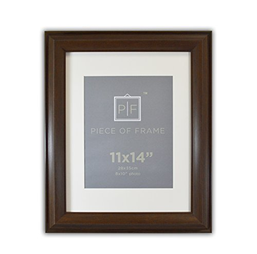 x14 Brown Color Photo Frame, 2-inch Wide, with Ivory Mat for 8x10 Picture & Real Glass ()