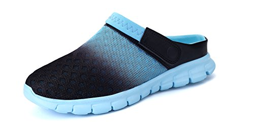 DADAZE Herren Damen Clogs Sommer Slip-on Hausschuhe Atmungsaktiv Mesh Pantolette Sandalen Beach Schuhe Himmelblau