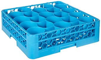"""Carlisle RW2014 OptiClean NeWave 20-Compartment Glass Rack w/ Integrated Extender, Polypropylene, 20.88"""" Length, 20.88"""" Width, 5.83"""" Height, Blue (Case of 4)"""