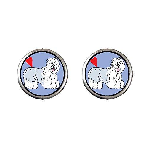 Old English Sheepdog Earrings - GiftJewelryShop Silver Plated Old English Sheepdog Animal Photo Stud Earrings 10mm Diameter