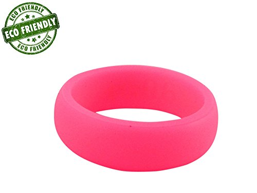 Barbell 1 Minimalist Silicone Wedding Ring/Band Eco-Friendly Packaging for Men & Women Personal Training, Crossfit, Weightlifting, Powerlifting, Hunting, Fishing, Work (Hot Pink Smooth, 7)