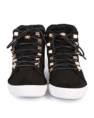 Liliana De83 Sneaker Alta Alta In Pizzo Con Borchie E Costina Scamosciata - Nero