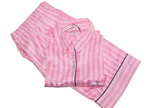 Victoria's Secret Satin Pajama The Afterhours 2 Piece Set Pink Stripe Medium Length Short