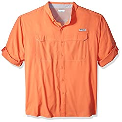 Columbia Men's Low Drag Offshore Long Sleeve Shirt, Bright Peach, 4x Tall