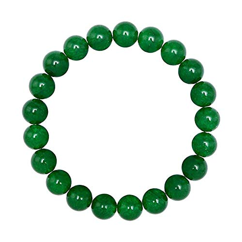 FORZIANI 10mm Green Jade Bead Bracelet for Men Energy + Clarity, High Quality Natural Stone Stretch Bracelet, Medium Size - Complimentary Gift Packaging - Bead Bracelet Jade