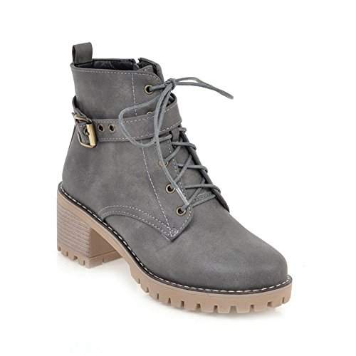 AN A&N Womens Boots Closed-Toe Lace-Up Adjustable-Strap Kitten-Heels Rubber Warm Lining Outdoor Road Nubuck Urethane Urethane Boots DKU01940 Gray 2zygkuB