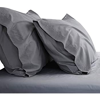 Bedsure Cooling Bamboo Pillowcases Set of 2 - Breathable Cool Ultra Soft Pillow Cases - Viscose from Bamboo - Organic Natural Silky Material, Moisture Wicking(Grey, Queen Size 20x30 inches)
