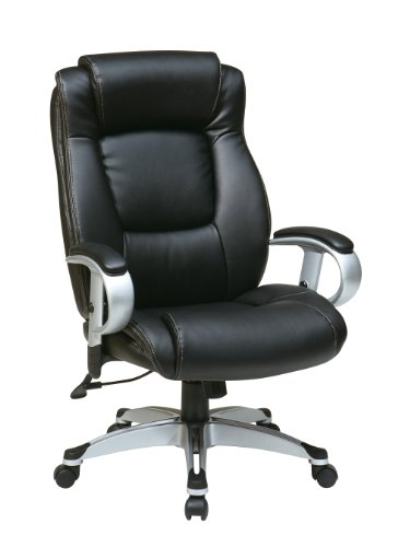 picture of Work Smart ECH52666-EC3 Executive Eco Leather Chair with Padded Height Adjustable Arms and Coated Base