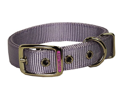 Hamilton Double Thick Nylon Deluxe Dog Collar, 1-Inch by 22-Inch, Lavender