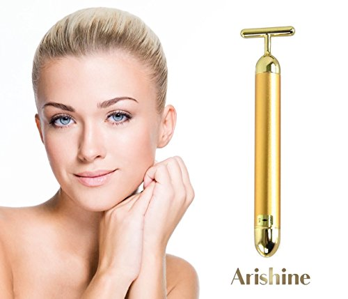 Arishine 24k Golden pulse facial massager, Instant Face Lift, Anti-Wrinkles,Skin Tightening, Face Firming, Eliminate Dark Circles, and a good Anti-Aging - Face Circle
