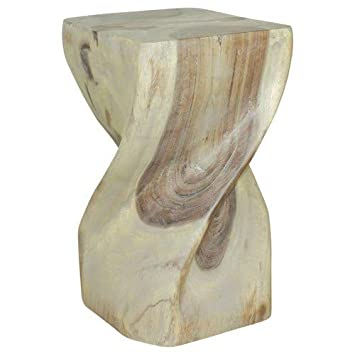 Haussmann Big Twist Stool 12 inch SQ x 20 inch H Agate Grey Oil