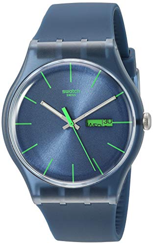 (Swatch Men's SUON700 Quartz Navy Blue Dial Plastic Date  Luminous)