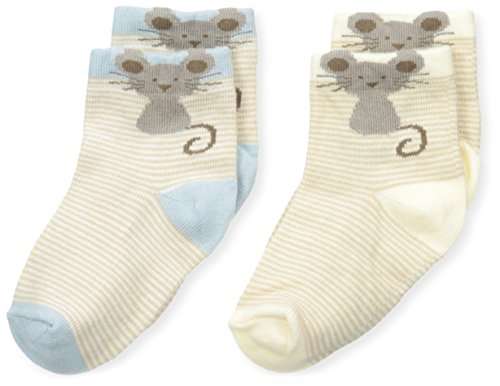 (Country Kids Baby Boys' Little Mouse Bootie 2 Pairs, Maize/Blue, Sock Size 5-6)