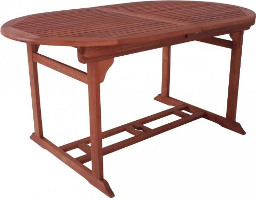 großer ovaler Auszugstisch, Gartentisch, Holztisch, massives Eukalyptusholz