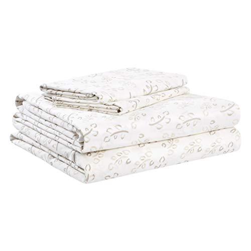 AmazonBasics Organic Sateen Cotton Sheet Set - Cal King, Watercolor Vine