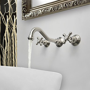 Zingcord Antique Traditional Wall Mounted Wall Mount Ceramic Valve Three Holes Two Handles Three Holes Brushed Bathroom Sink Faucet (Ceramic Handle Wall)