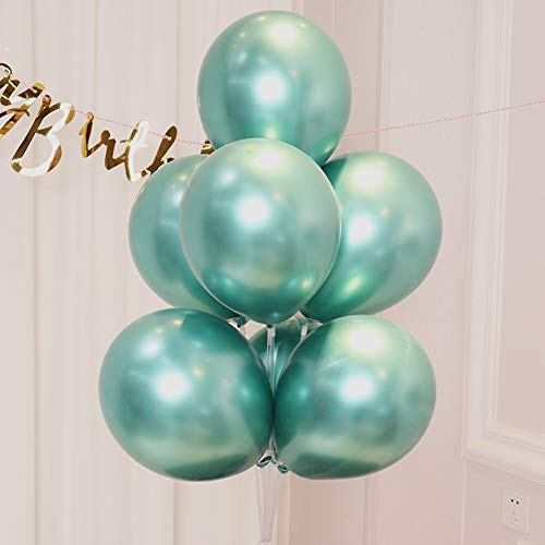 AULE Green Metallic Chrome Latex Balloons 12 Inch 50 Pcs Happy Birthday Baby Showers Bridal Shower Weddings Bachelorette Party Decorations