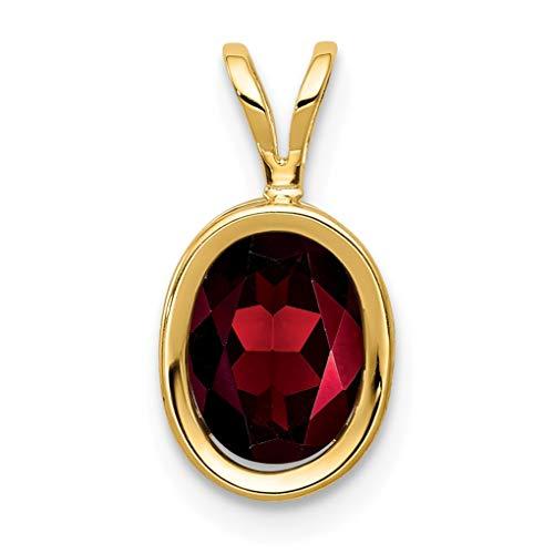 Bonyak Jewelry 14k 8x6mm Oval Garnet Bezel Pendant in 14k Yellow Gold