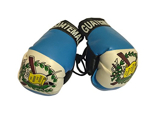 Flag Mini Small Boxing Gloves to Hang Over Car Automobile Mirror - Americas (Country: Guatemala)
