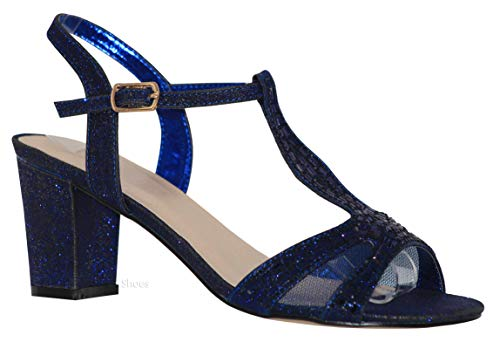 MVE Shoes Women's T Strap Open Toe - Rhinestone Block Heel - Sparkle Party Sandal - Ankle Buckle Sexy Low Heel, Lennie-1 Navy 11