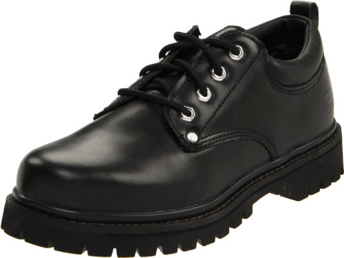 Skechers Men's Alley Cats Utility Oxford,Black Smooth,10.5 EE - Wide