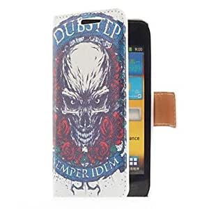 MOM Rose and Skull Style Leather Case with Card Slot and Stand for Samsung Galaxy S Advance i9070