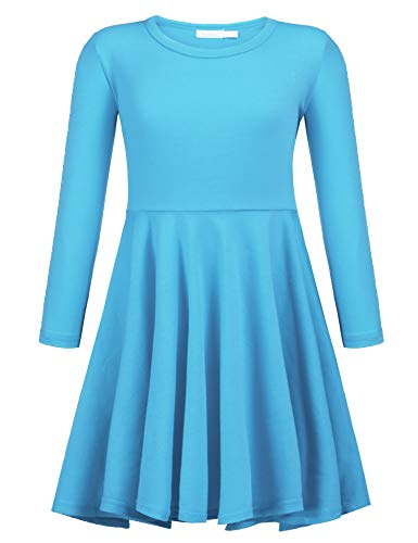 - Arshiner Girls' Cotton Long Sleeve Twirly Skater Party Dress,Blue,100(Age for 5-6 Y)