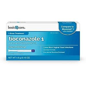 Amazon Basic Care Tioconazole Ointment 6.5%, Vaginal Antifungal; 1-Dose Treatment for Vaginal yeast infection
