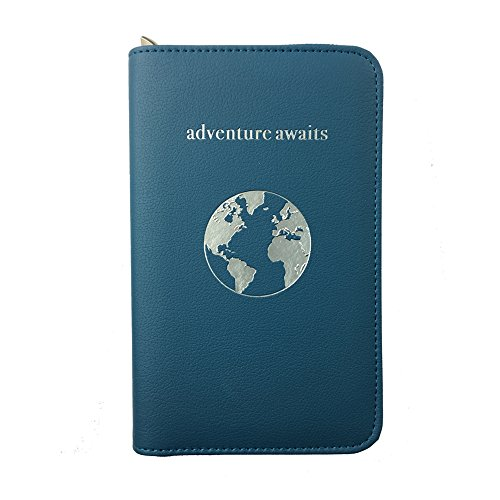 Phone Charging Passport Holder -Multiple Variations with Upgraded Power Bank- RFID Blocking - Travel Wallet Compatible with All Phones - Travel Accessories (Cerulean)