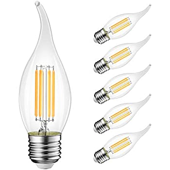B11 Flame Tip LED Filament Bulbs E26 Candelabra Base,LVWIT 4W(40W Equivalent) Dimmable 3000K Soft White Chandelier Candle Light Bulb (6-Pack)