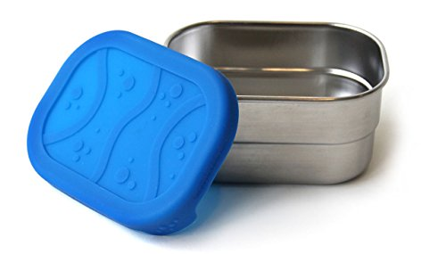 ECOlunchbox Blue Water Bento Splash Pod - Leak-proof Stainless Steel and Silicone Snack Container