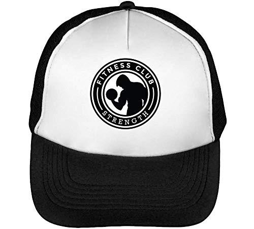 Hombre Strength Gorras Fitness Blanco Sport Snapback Beisbol Badge Negro Club 6wSFnaq