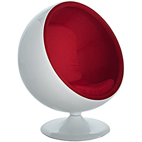 Modway Eero Aarnio Style Ball Chair In Red