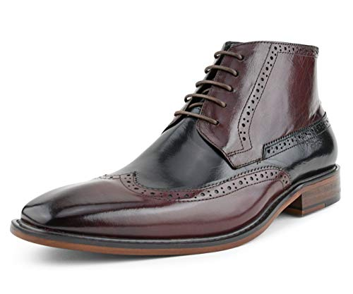 Burgundy Shoes Oxfords (Asher Green Mens Two Tone Genuine Calf Leather Wingtip Spectator, Lace up Oxford Dress Shoe Burgundy)