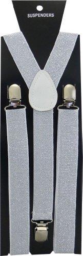 JTC Belt Great Quality Unisex Suspenders Plain Shiny Silver