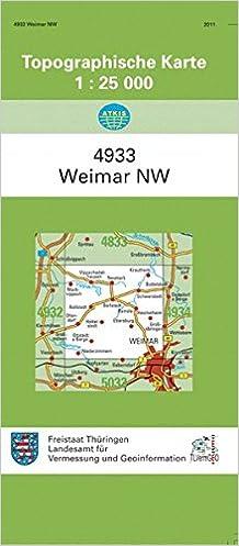 Topographische Karte Thüringen.Weimar Nordwest 4933 Topographische Karten 1 25000 Tk 25 Thüringen