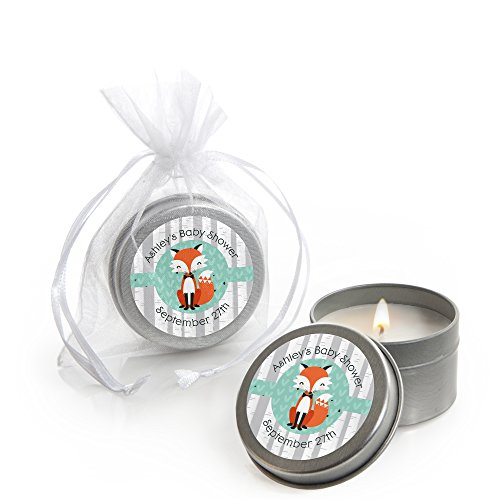 Big Dot of Happiness Custom Mr. Foxy Fox - Personalized Candle Tin Baby Shower Favors - Set of (Shower Favor Tins)