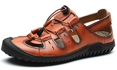 JIONS Closed Toe Leather Fisherman Mens Sandals, Outdoor Adjustable Summer Shoes B- Brown ()
