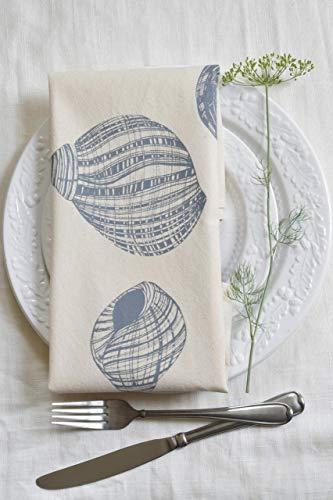 (Cloth Dinner Napkins - Set of 4 - Periwinkle Shell Design - Cool Grey - Handmade - Hand-printed - Unpaper)